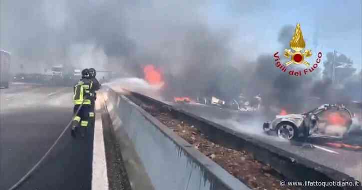 Incidente sull'A1 nel Piacentino, tir in fiamme: morti due camionisti. L'intervento dei vigili del fuoco – Video