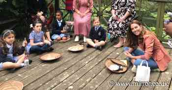 Beaming Kate chats with kids a day after husband William's birthday