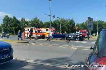 Rettungshubschrauber über Bayreuth: Verkehrsunfall im Kreuzungsbereich