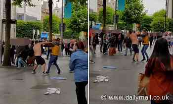 Crowds watch as shirtless men brawl in the centre of Dublin 'for 20 minutes' before police show up