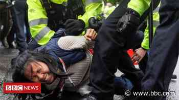 Anti-lockdown Westminster protest: Police officers hurt and 14 arrested - BBC News