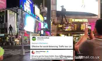 Incredible video shows man FLYING around New York's Times Square on real-life hover board