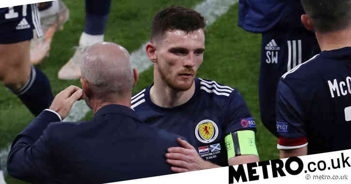 Steve Clarke and Andy Robertson react to Scotland's elimination at Euro 2020 after Croatia defeat