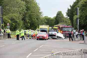 Car flips on roof in multi-vehicle crash on A29