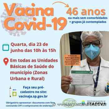 Itapeva vacinará munícipes a partir de 46 anos nesta quarta-feira, dia 23 - Jornal Ita News