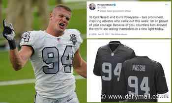 Carl Nassib's replica jersey becomes best seller on Fanatics website, Biden praises his 'courage'