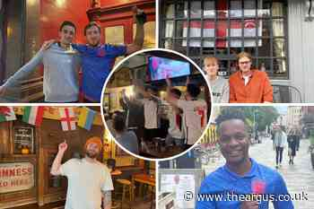 England fans in Brighton react after team tops group