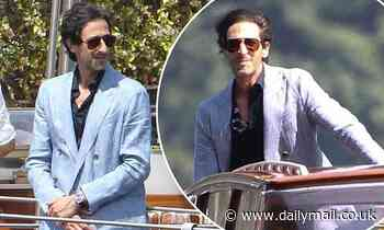 Adrien Brody puts on a suave display in a crisp blue blazer as he hits Lake Como