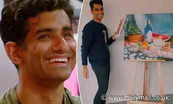 Big Brother Australia evictee Sid Pattni shows off his paintings