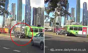 Distracted Melbourne driver crashes into a tram