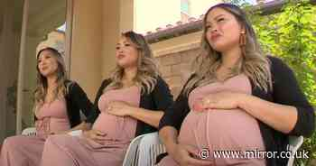 Triplet sisters fall pregnant at the same time with their babies due weeks apart