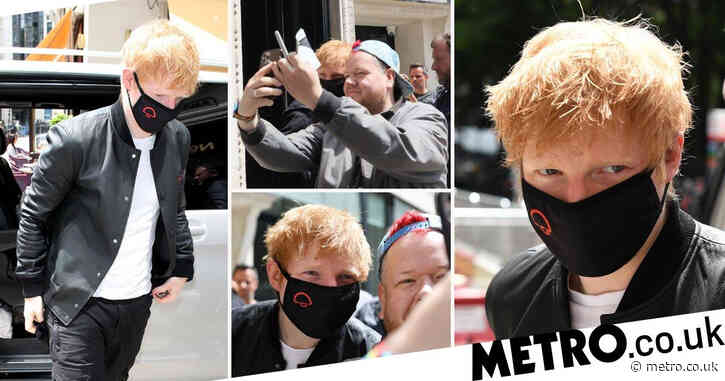 Ed Sheeran poses for selfies with fans as he begins comeback with Kiss FM takeover for Bad Habits