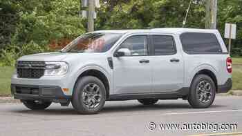 Ford Maverick with a truck bed cap caught in spy photos