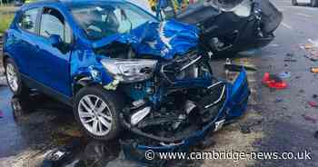 A15 crash sees vehicle overturn and car left looking like this