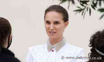 Natalie Portman, 40, is heavenly in a white lace dress as she models pearls during a photo shoot