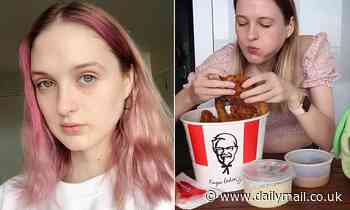 Bizarre moment a model takes on huge family-sized food challenge