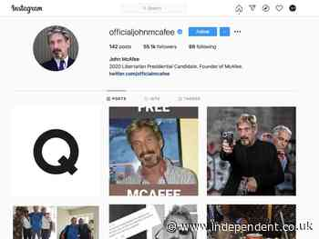John McAfee's Instagram posts 'Q' image minutes after his death is reported