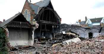 Fire ravaged Whitley Bay Church finally reduced to rubble