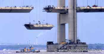 Iconic shots of Humber Bridge in the making on 40th anniversary