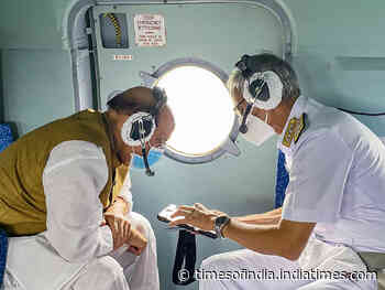 Defence Minister conducts aerial survey of Indian Navy's project in Karnataka