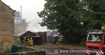 First footage as firefighters tackle 'large scale fire' near Hexham
