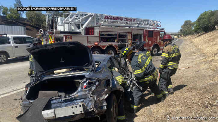 2 People Rescued After Rollover Crash On WB I-80 In North Sacramento