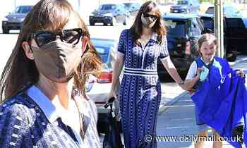 Jennifer Garner picks up her nine-year-old son Samuel from a swimming lessons in Brentwood
