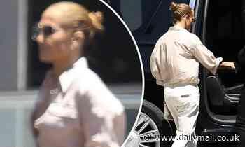 Jennifer Lopez goes casual in white jeans and a nude blouse as she leaves KTLA 5 Studios in LA