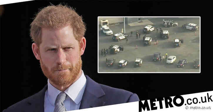Police car chase on LA runway just as Prince Harry boards plane to UK