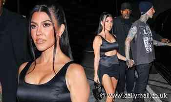 Leggy Kourtney Kardashian steps out with boyfriend Travis Barker