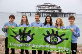 Cardinal Newman pupils unfurl climate conference banner