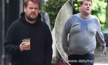James Corden shows off his incredible weight loss in loose fitting tracksuit on a coffee run