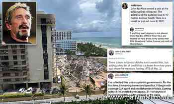 Tweet sparks conspiracy theories linking John McAfee's death to Miami condo collapse