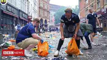Scotland fans clean up London after Euro celebrations - BBC News