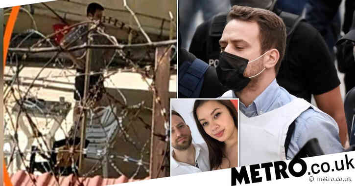 Greek pilot who 'murdered' British wife pictured in maximum security prison