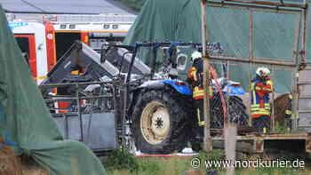Traktor brennt in Wolgast - Nordkurier