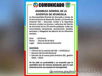 Puno: en Atuncolla renovarán la junta directiva del Consejo Distrital de Jóvenes - Pachamama radio 850 AM
