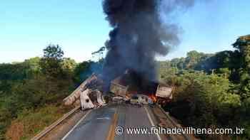 Dois caminhoneiros morrem queimados após grave acidente envolvendo cinco veículos em rodovia ⋆ Folha de Vilhena - Folha de Vilhena
