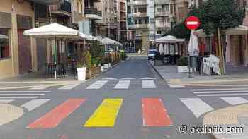 Lérida amanece con pasos de cebra pintados con la bandera de España - Okdiario