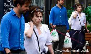 Helena Bonham Carter cuts a casual figure in a white shirt on a dog walk with Rye Dag Holmboe - Daily Mail