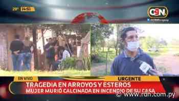 Mujer fallece en incendio de su casa en Arroyos y Esteros - Resumen de Noticias