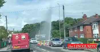 Burst water pipe jet taller than a house causes chaos in Bracebridge Heath - The Lincolnite