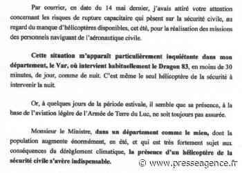 SAINT RAPHAEL : Retour du Dragon 83, la réaction de Françoise DUMONT - La lettre économique et politique de PACA - Presse Agence