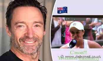 Hugh Jackman pays tribute to 'sensational' Ash Barty as she earns a spot in the Wimbledon final - Daily Mail