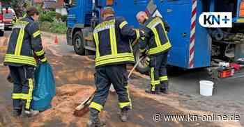 Großeinsatz in Niederkleveez: Heizöl floss auf die Straße - Kieler Nachrichten