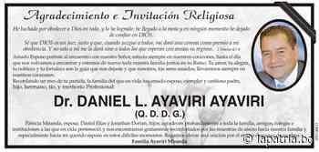 Agradecimiento e Invitación Religiosa: Dr. DANIEL L. AYAVIRI AYAVIRI (QDDG) - Periódico La Patria (Oruro - Bolivia)