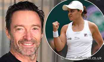 Hugh Jackman celebrates Ash Barty's Wimbledon win in VERY animated video - Daily Mail
