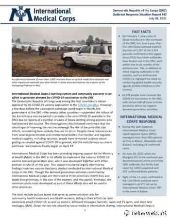 Democratic Republic of the Congo (DRC) - Ebola Situation Report #42 - July 8, 2021 - Democratic Republic of the Congo - ReliefWeb
