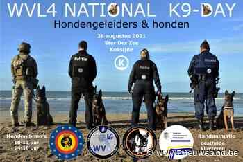 Hondengeleiders veiligheidsdiensten geven spectaculaire demonstraties aan zee