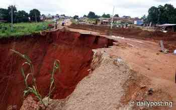 Imo: Gully erosion severs road, cuts off community from Owerri town - Daily Post Nigeria